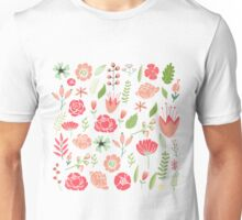Colorful Assorted Flowers Illustration Unisex T-Shirt