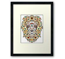 Colorful Lion Head Sugar Skull Illustration Framed Print