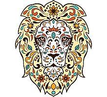Colorful Lion Head Sugar Skull Illustration Photographic Print