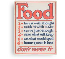 United States Department of Agriculture Poster 0266 Food Don't Waste it Canvas Print