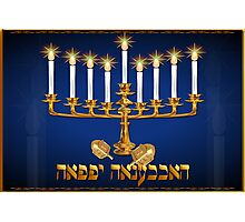 Golden Hanukkah poster Photographic Print