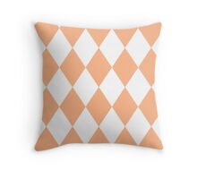 Peach and White Diamonds Throw Pillow