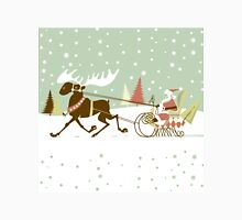 Retro Christmas With Santa And Rein Deer Illustration Unisex T-Shirt