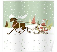 Retro Christmas With Santa And Rein Deer Illustration Poster