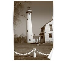 Lighthouse - Presque Isle, Michigan in Sepia Poster