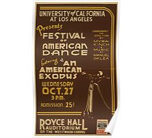 WPA United States Government Work Project Administration Poster 0913 Festival Of American Dance An Exodus Royce Hall Auditorium Poster
