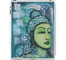 A calm tranquil Buddha in harmonious green, painting and mixed media iPad Case/Skin