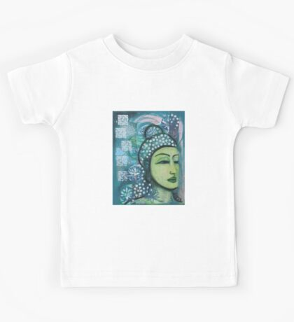A calm tranquil Buddha in harmonious green, painting and mixed media Kids Tee