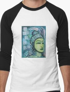 A calm tranquil Buddha in harmonious green, painting and mixed media Men's Baseball ¾ T-Shirt