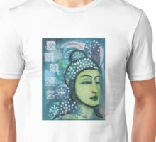 A calm tranquil Buddha in harmonious green, painting and mixed media Unisex T-Shirt