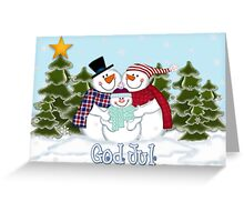 Snowman Family God Jul Christmas Card Greeting Card