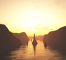 Sailing Ships on the River at Sunset by algoldesigns