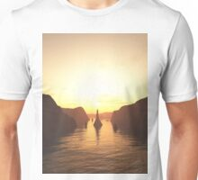 Sailing Ships on the River at Sunset Unisex T-Shirt