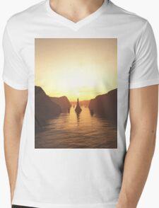 Sailing Ships on the River at Sunset Mens V-Neck T-Shirt