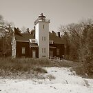 Lighthouse - 40 Mile Point, Michigan in Sepia by Frank Romeo