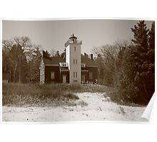 Lighthouse - 40 Mile Point, Michigan in Sepia Poster