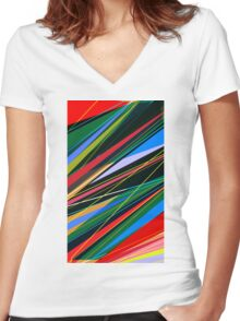 Abstract colorful shapes 2 Women's Fitted V-Neck T-Shirt