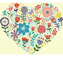 Colorful Retro Flowers Heart Illustration Photographic Print