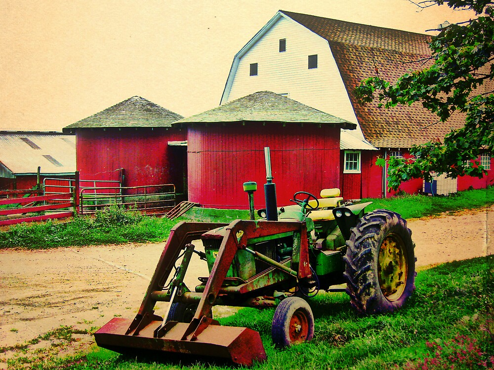 Twins and a Tractor HDR by Debbie Robbins