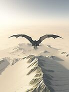 Grey Dragon Flight Over Snowy Mountains by algoldesigns