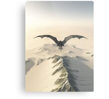 Grey Dragon Flight Over Snowy Mountains Metal Print