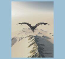 Grey Dragon Flight Over Snowy Mountains Kids Tee