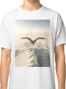 Grey Dragon Flight Over Snowy Mountains Classic T-Shirt