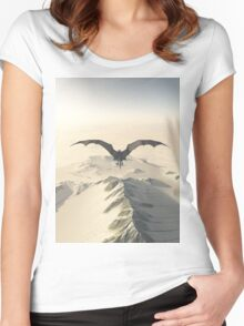 Grey Dragon Flight Over Snowy Mountains Women's Fitted Scoop T-Shirt