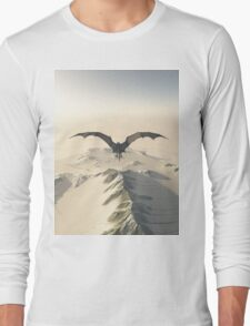 Grey Dragon Flight Over Snowy Mountains Long Sleeve T-Shirt