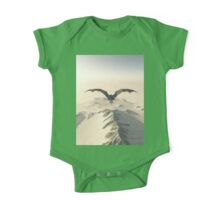 Grey Dragon Flight Over Snowy Mountains One Piece - Short Sleeve