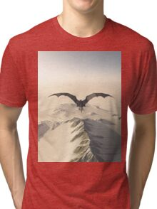 Grey Dragon Flight Over Snowy Mountains Tri-blend T-Shirt