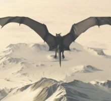 Grey Dragon Flight Over Snowy Mountains Sticker