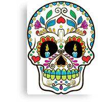 Colorful Retro Floral Sugar Skull Canvas Print