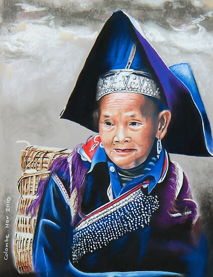 Old Hmong woman at Bac Ha market by Colombe  Cambourne