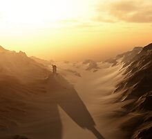 Distant Lonely Tower at Sunset with Dark Shadows by algoldesigns