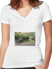 Landrover and the Ford  Women's Fitted V-Neck T-Shirt