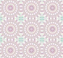 Kaleidoscope Flowers Design in Pink with Hearts by Mercury McCutcheon