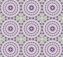 Kaleidoscope Flowers in Bright Purple and Green by Mercury McCutcheon