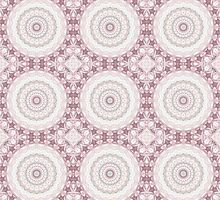 Kaleidoscope Flowers Design in Peach and Mauve by Mercury McCutcheon