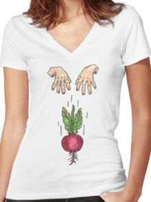 dropping beets Women's Fitted V-Neck T-Shirt