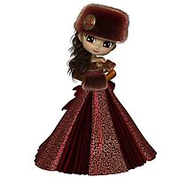 Toon Winter Princess in Red Photographic Print