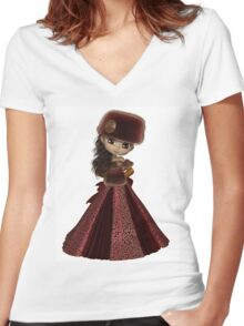 Toon Winter Princess in Red Women's Fitted V-Neck T-Shirt