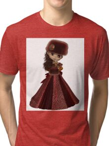 Toon Winter Princess in Red Tri-blend T-Shirt