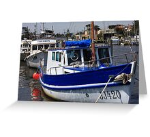 Blue Wooden Boat Greeting Card