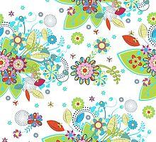 Colorful Retro Floral Design  by artonwear