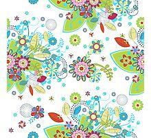 Colorful Retro Floral Design  Photographic Print