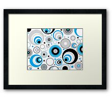 Blue Gray And White Abstract Circles Framed Print