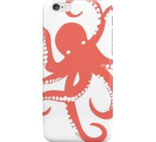 Nautical Coral Red Octopus Illustration iPhone Case/Skin