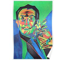 Salvador Dali with Ocelot and Cane Poster