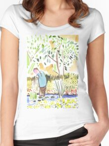 The Council Worker Clearing the Pond Women's Fitted Scoop T-Shirt